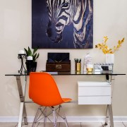 glamorous living room | home office in living room | neutral color scheme | luxe pillows