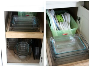 organized cabinet for storage containers