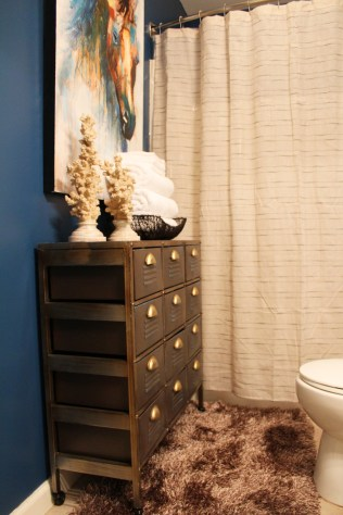 Bold, Blue Guest Bathroom