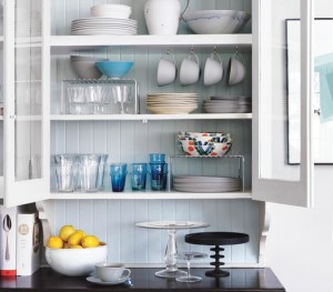 Real Simple organized dishware cabinet