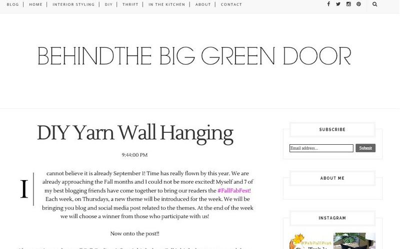 Alaya, Behind the Big Green Door - DIY Yarn wall hanging