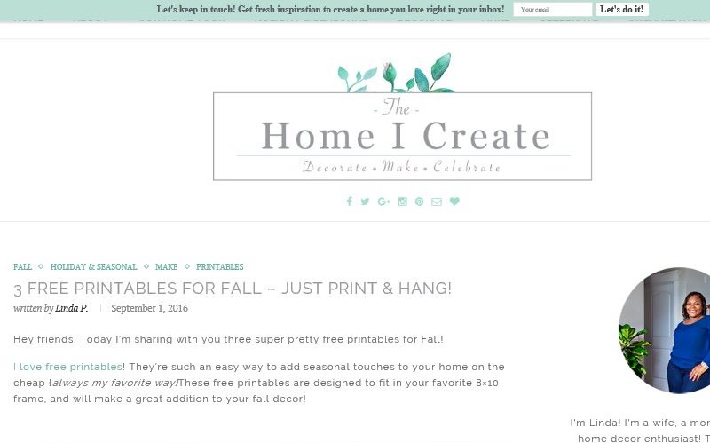 Linda, of the Home I Create - free original printables