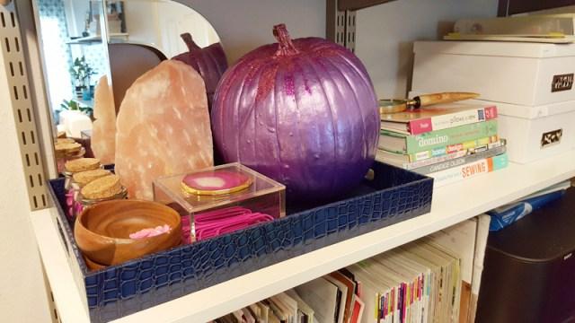 diy glittered purple painted pumpkin