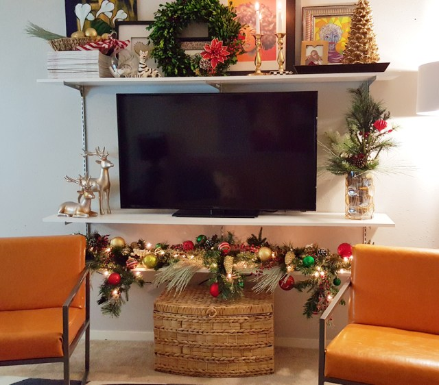holiday decor for christmas media center styled for the Home Depot