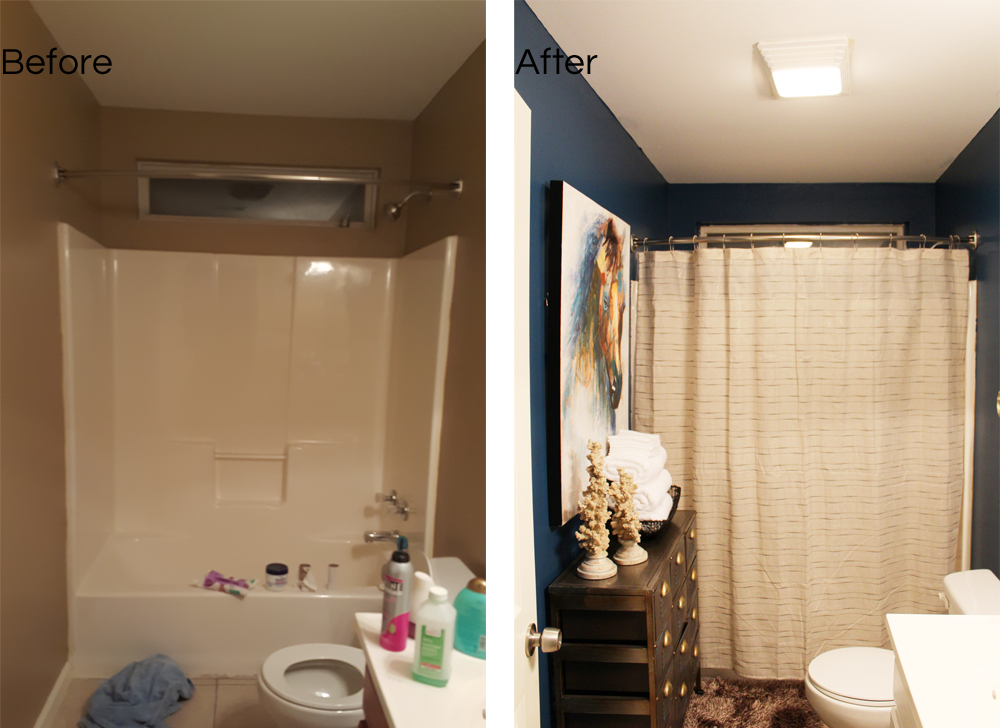 before and after; blue, eclectic guest bathroom