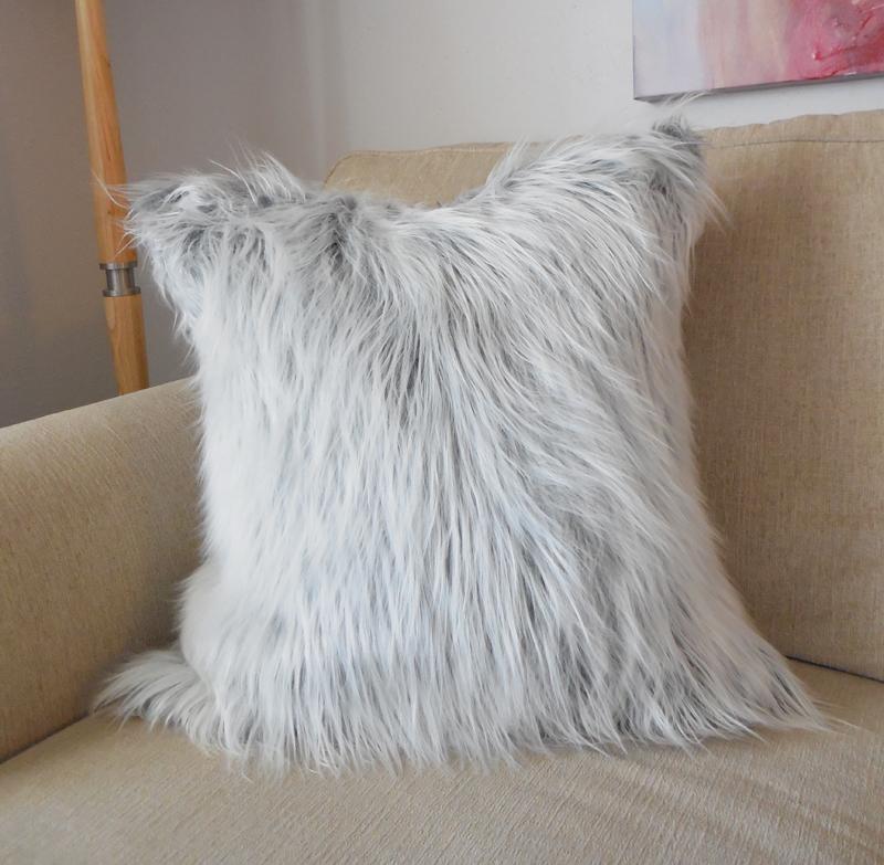 Gray And White Mongolian Faux Fur Pillow Cover Whitney J Decor