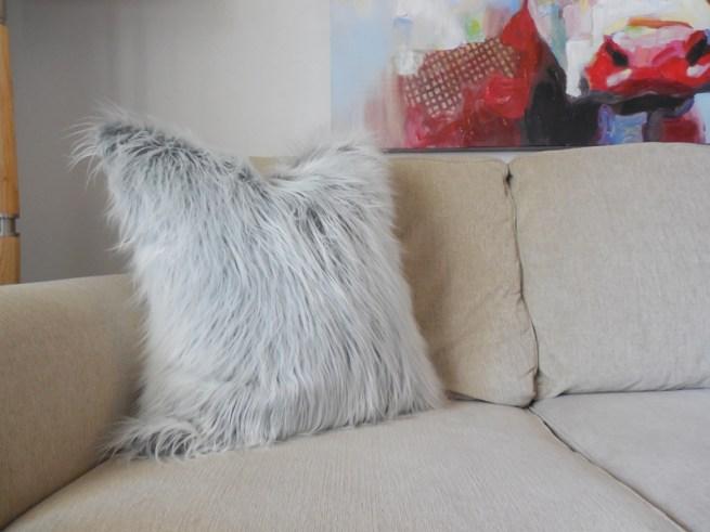 gray faux fur mongolian pillow