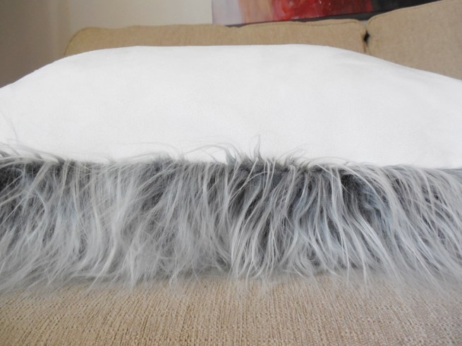 gray faux fur mongolian pillow