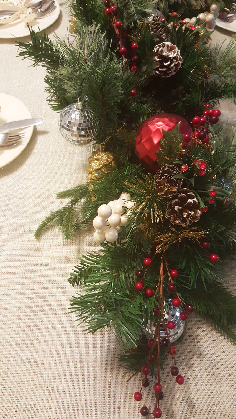 holiday diy centerpiece with christmas garland