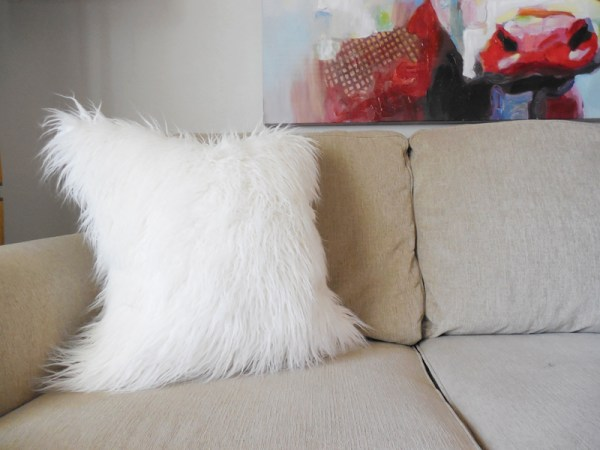 mongolian white faux fur pillow
