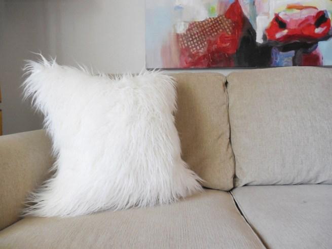 mongolian white faux fur pillow