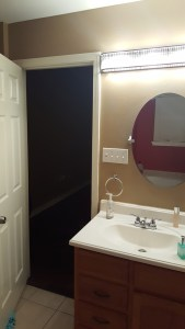 eclectic, black and white master bathroom - before