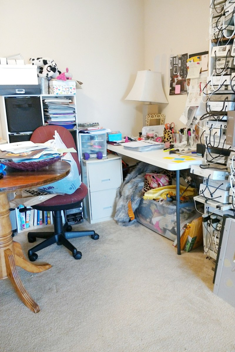 before dining room turned home office