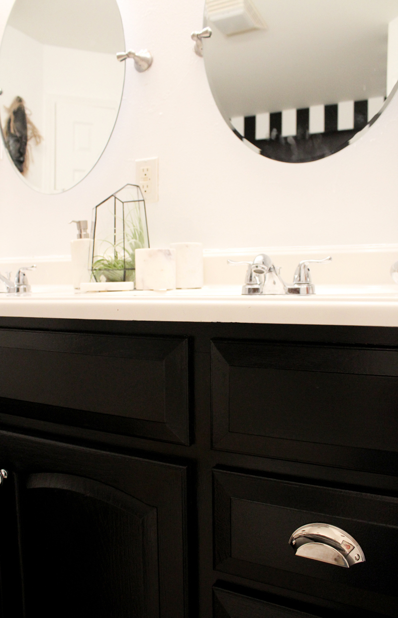 eclectic, black and white master bathroom - after