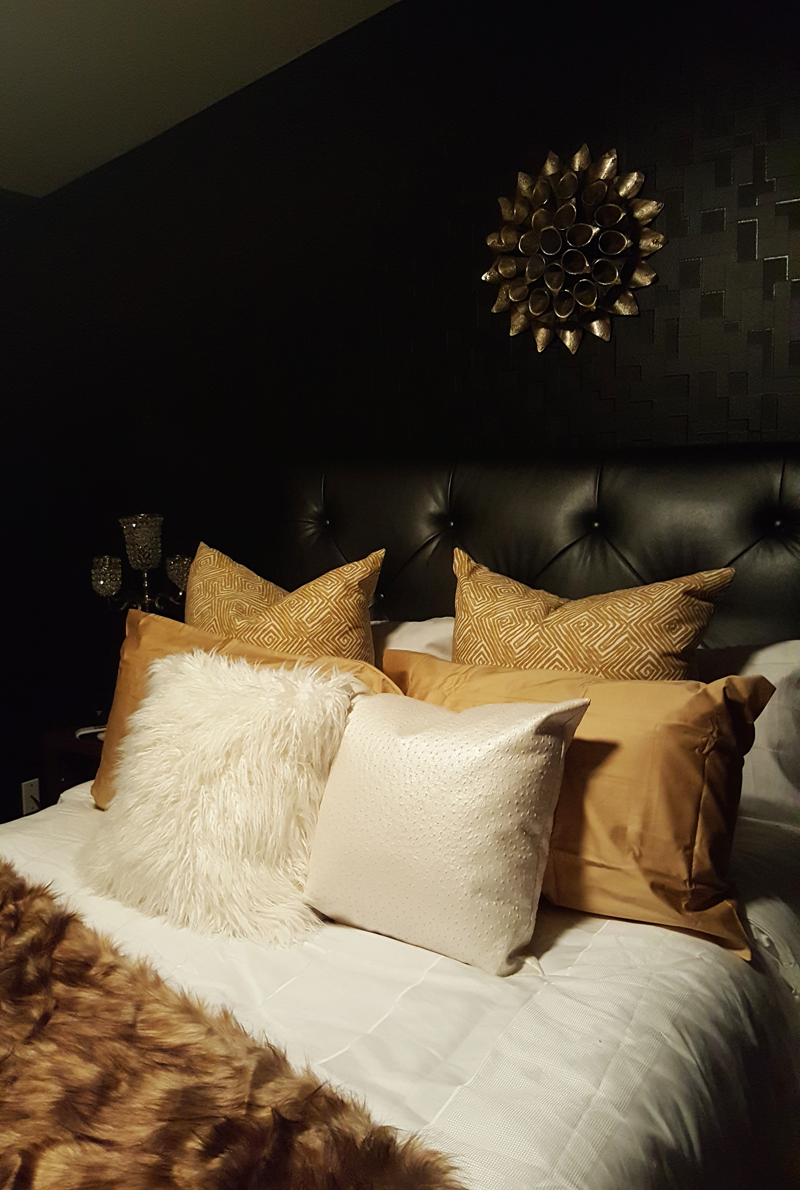 black, eclectic bedroom - after