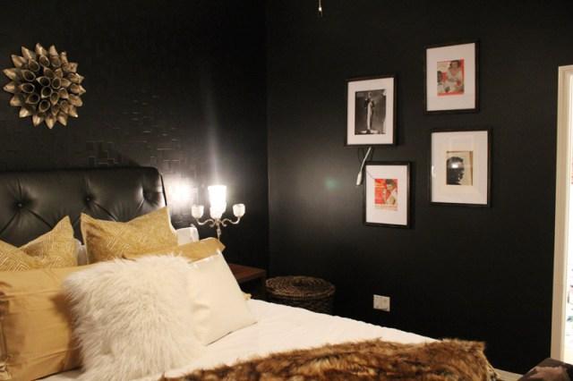 black, eclectic bedroom - after