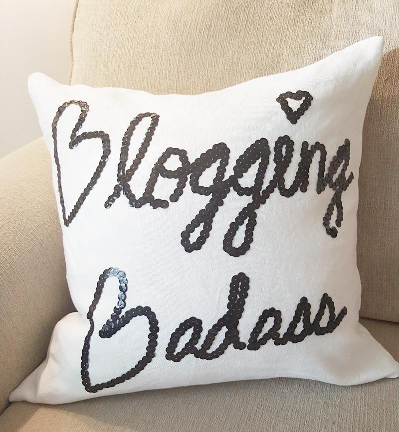 white linen blogging bad*** pillow