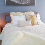 bedroom decor blue bedroom | fur pillows | fur throw