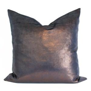 Navy Blue and Copper Velvet Metallic Pillow Cover