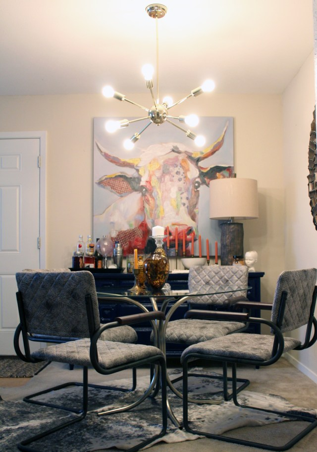 eclectic dining room | zuomod father dining chairs | zuomod pilsner ceiling light