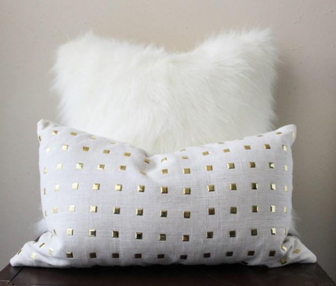 gold stud pillow   gold studs pillow