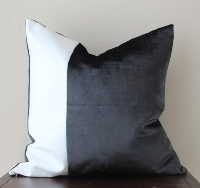 black and white velvet pillow