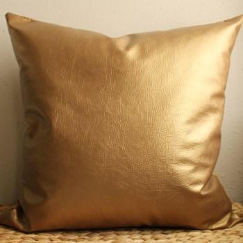 gold metallic faux leather pillow
