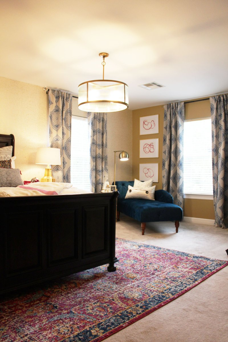 Pink and blue transitional bedroom reveal before after for Pink and blue bedroom