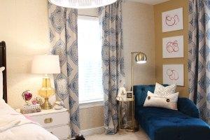 blue bedroom   pink bedroom   transitional bedroom   glam bedroom   pink diy art   how to transform a master bedroom   white campaign dresser   blue chaise   nate berkus bedding