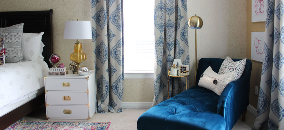 pink and blue transitional bedroom   blue bedroom   pink bedroom   transitional bedroom   glam bedroom   pink diy art   how to transform a master bedroom   white campaign dresser   blue chaise   nate berkus bedding