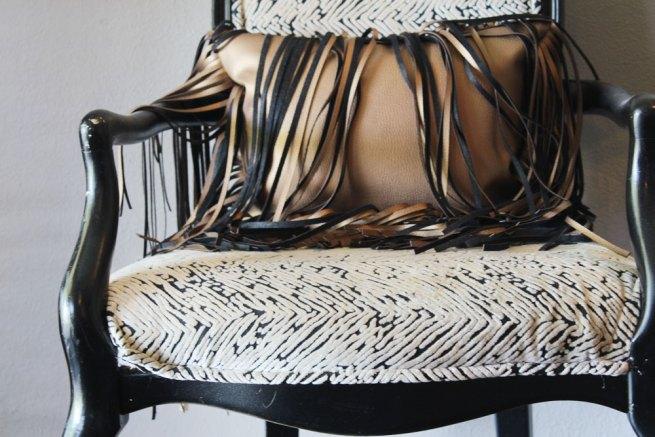oversized fringe gold faux leather pillow