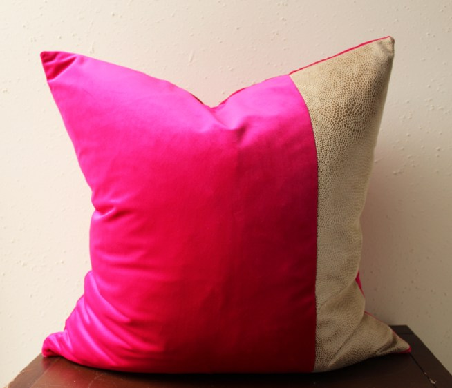 hot pink velvet pillow with snakeskin detail
