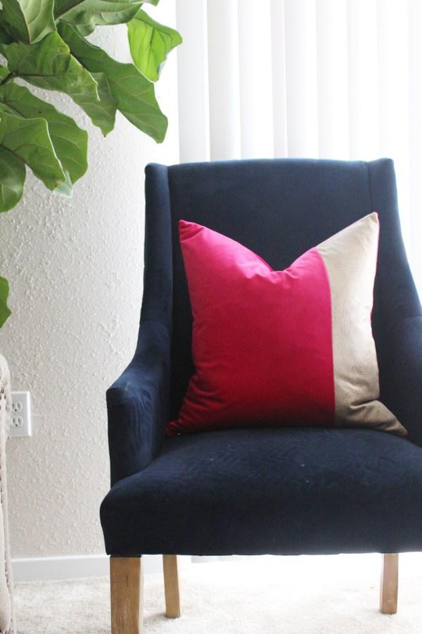 hot pink velvet pillow with snakeskin detail