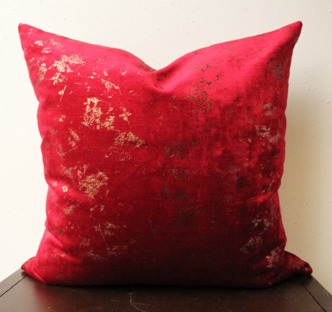 red velvet pillow cover | red and copper | copper pillow | glam red velvet pillow | copper glam pillow | living room decor | bedroom decor