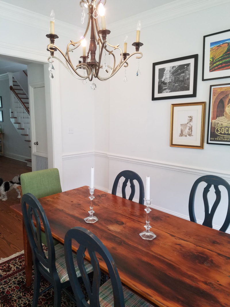 blue transitional dining room and white entryway