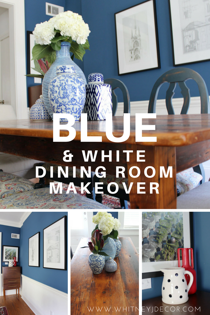 blue and white transitional dining room makeover
