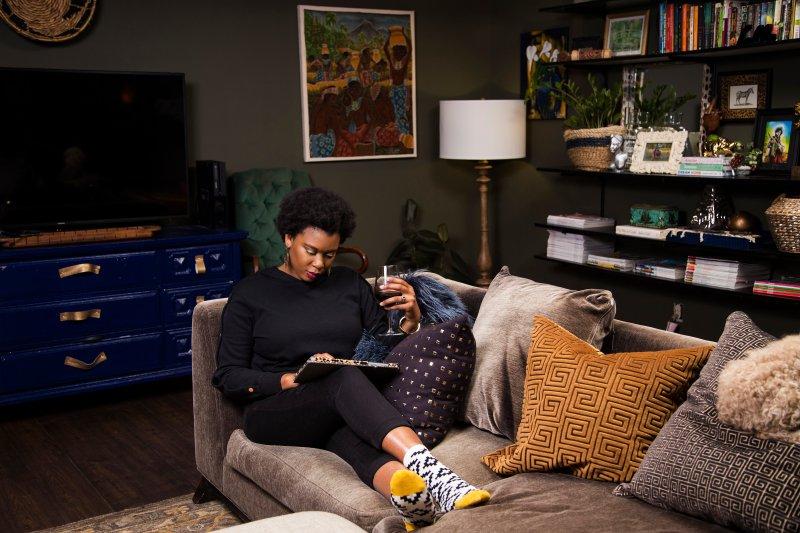 whitney jones | new orleans interior designer | whitney j decor | my living room progress | green walls in living room | green living room | wall shelves | tracking shelving