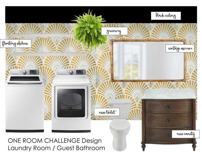 whitney j decor | one room challenge | laundry room | guest bathroom | glam laundry room | glam guest bathroom | art decor design | art decor bathroom | art decor laundry room | new orleans interior designer | nola blogger | nola interior designer