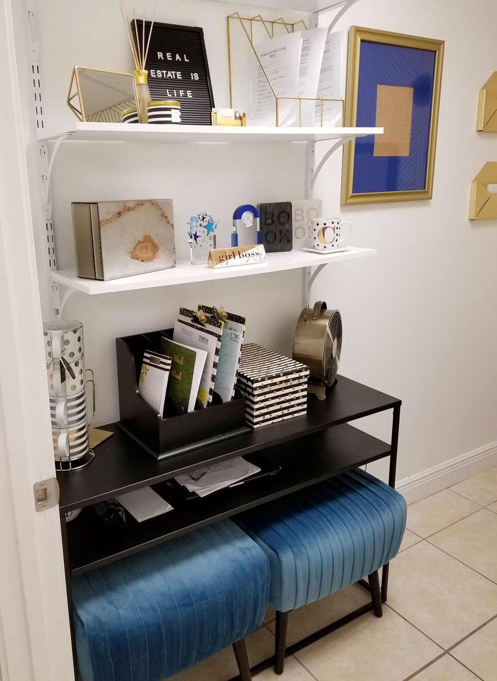 Tiny Black, White, And Gold Office Transformation | Glam Office Under 50  Sqft |