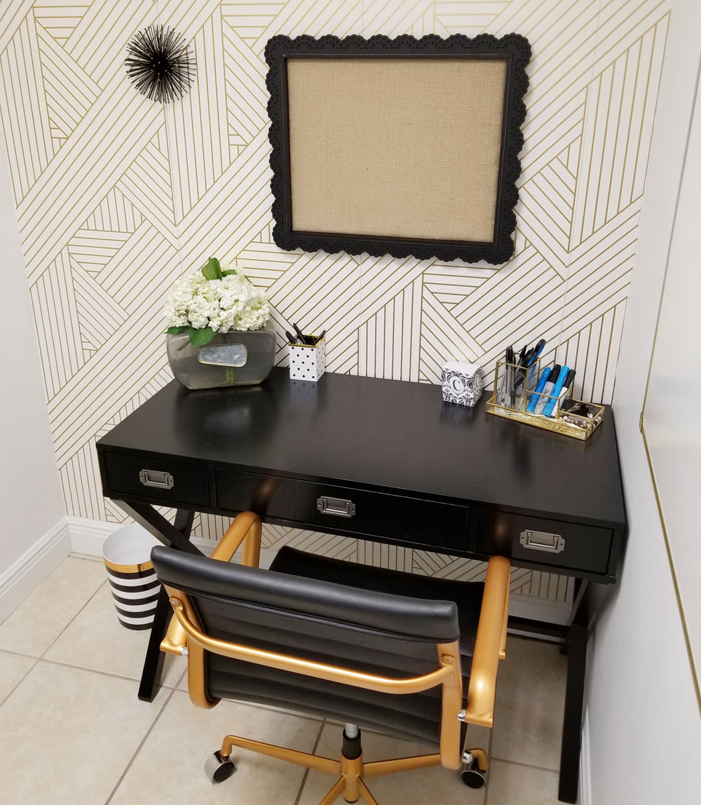 Tiny office Trailer Tiny Black White And Gold Office Transformation Glam Office Under 50 Sqft My Shingle Tiny Black White And Gold Office Makeover Glam Look Under 50 Sqft