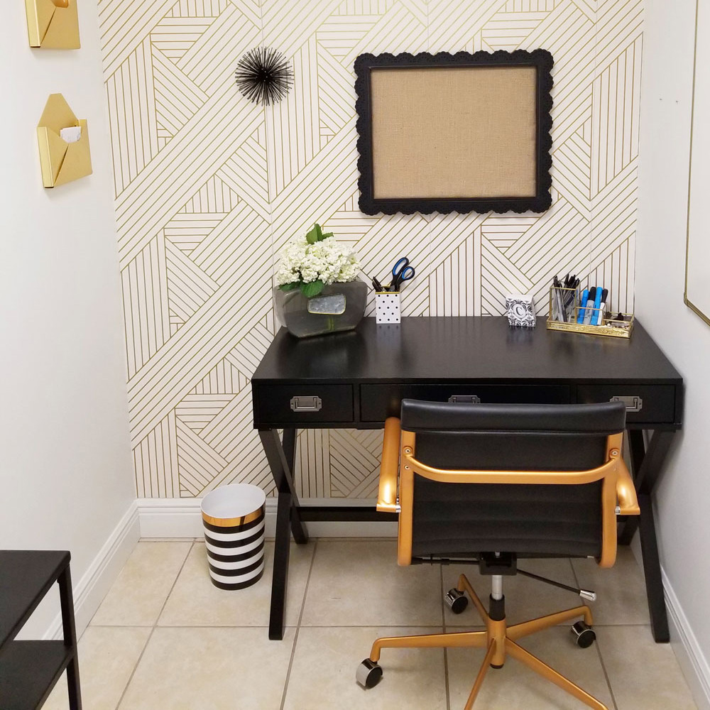 a tiny black, white, and gold office transformation