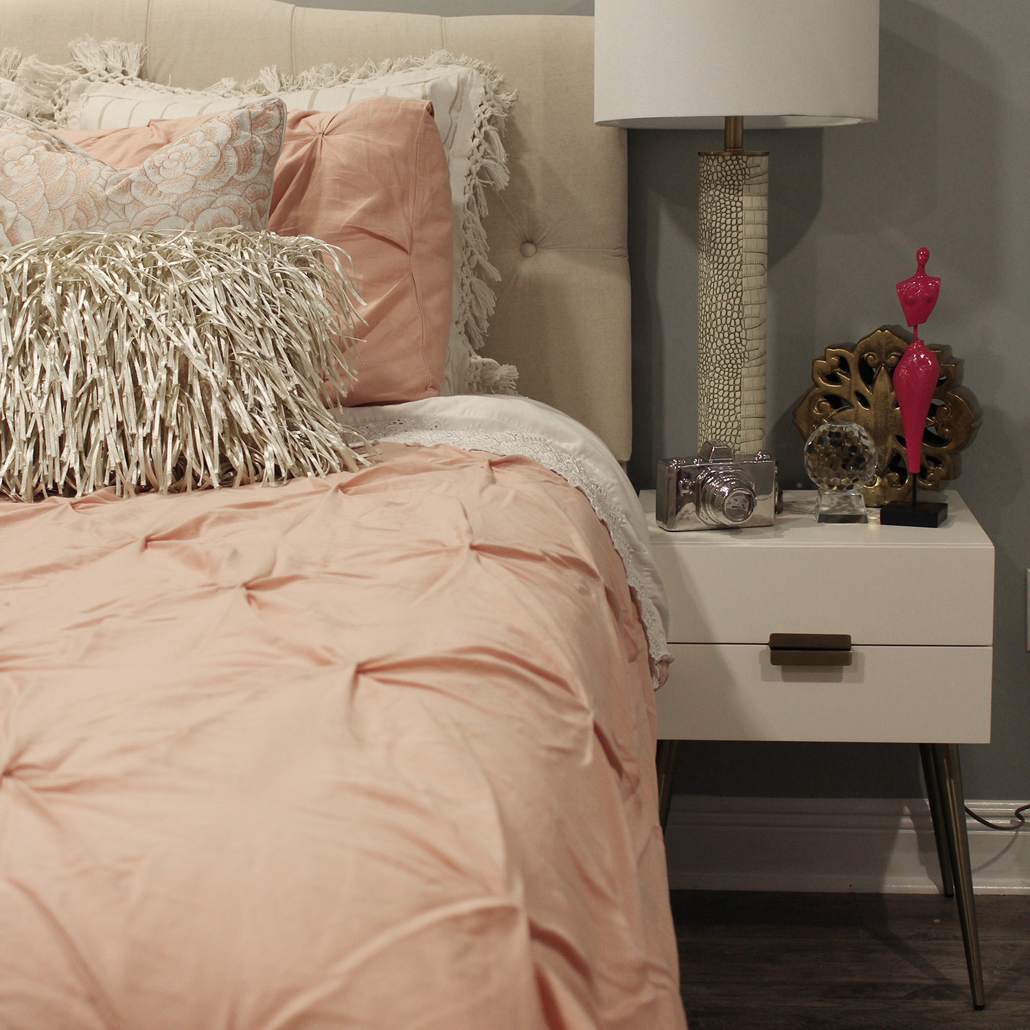 pink and gray feminine bedroom