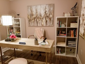 soft pink glam home office