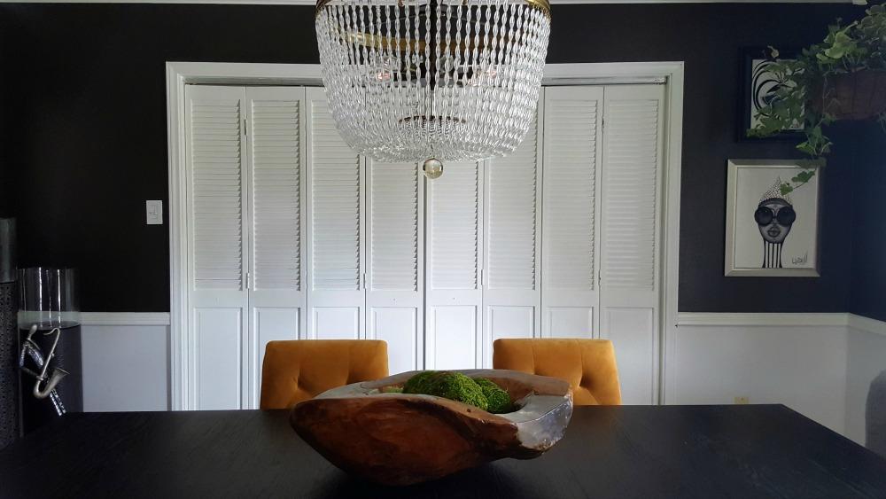 moody black dining room