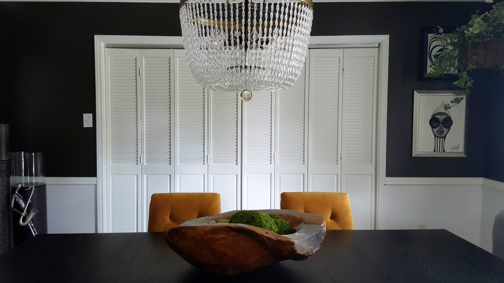 moody black dining room