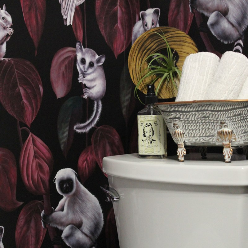 bold wallpaper and toilet