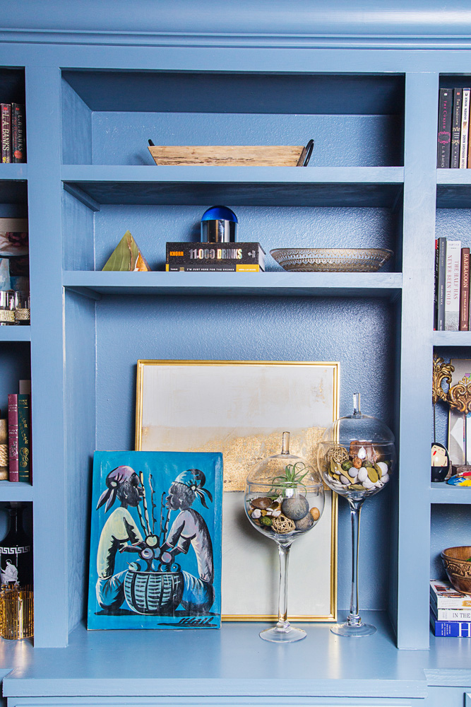 blue built in unit in dining room