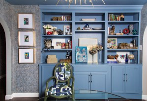 blue built-in unit in dining room