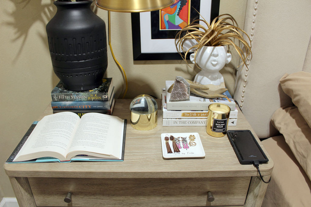 how to style a nightstand, organizing a bedroom