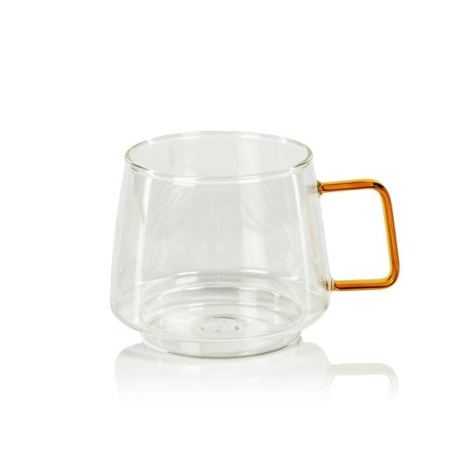 glass coffee mug with amber handle